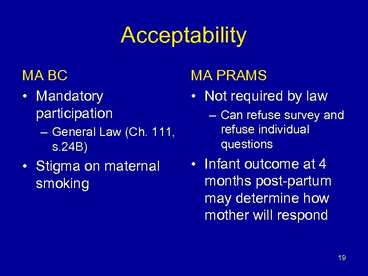 Acceptability MA BC • Mandatory participation – General Law (Ch. 111, s. 24 B)