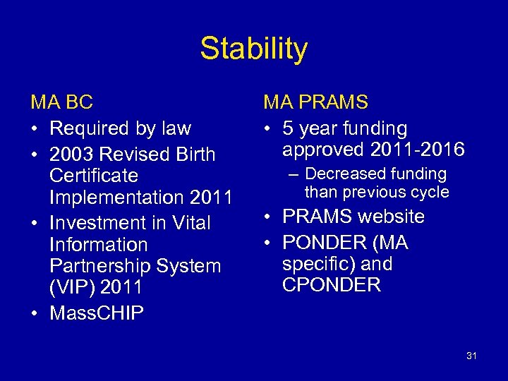 Stability MA BC • Required by law • 2003 Revised Birth Certificate Implementation 2011