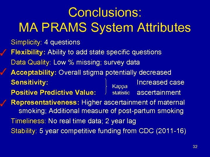 Conclusions: MA PRAMS System Attributes Simplicity: 4 questions Flexibility: Ability to add state specific