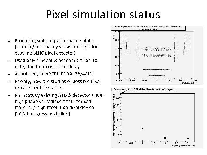 Pixel simulation status Producing suite of performance plots (hitmap / occupancy shown on right