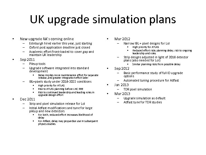 UK upgrade simulation plans • New upgrade RA's coming online – – – •