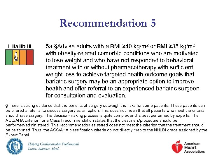 Recommendation 5 I IIa IIb III 5 a. §Advise adults with a BMI ≥