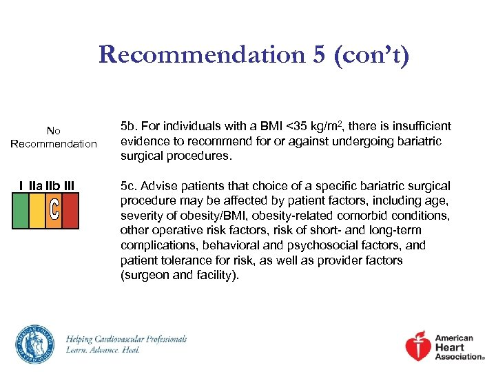 Recommendation 5 (con't) No Recommendation I IIa IIb III 5 b. For individuals with