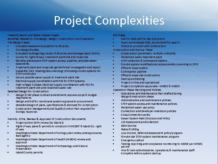 Project Complexities Freeland Sewer and Water Reuse Project: Activities Related to Pre-design, Design, Construction,