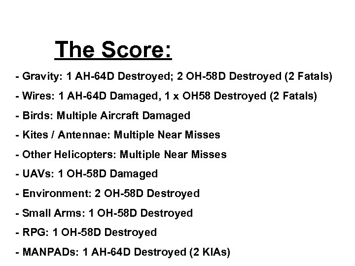 The Score: - Gravity: 1 AH-64 D Destroyed; 2 OH-58 D Destroyed (2 Fatals)