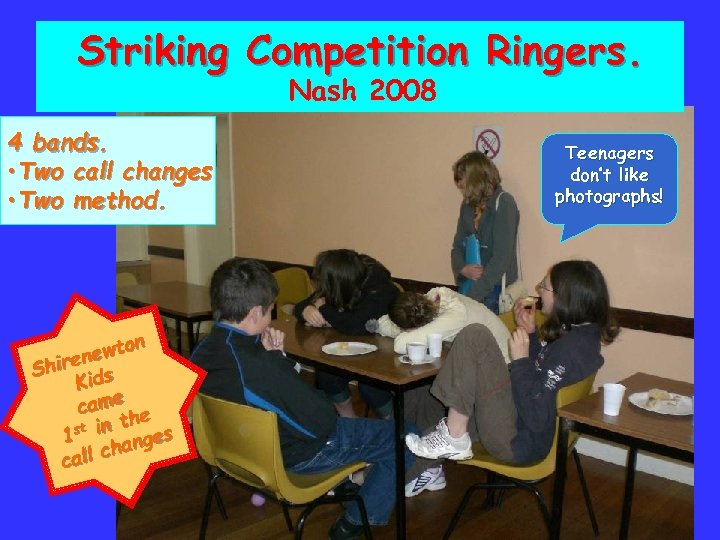 Striking Competition Ringers. Nash 2008 4 bands. • Two call changes • Two method.