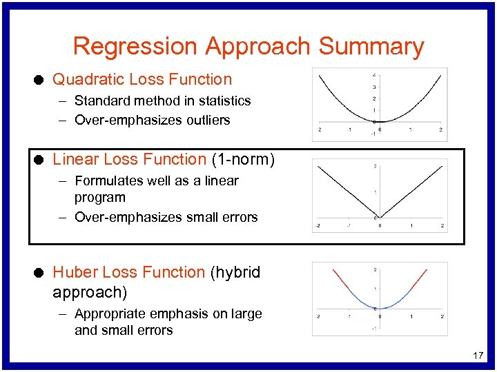 Regression Approach Summary l Quadratic Loss Function – Standard method in statistics – Over-emphasizes