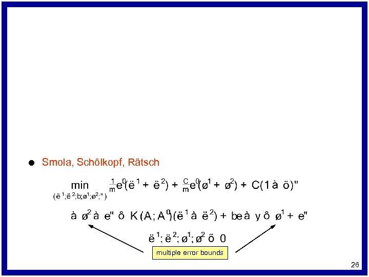 l Smola, Schölkopf, Rätsch multiple error bounds 26
