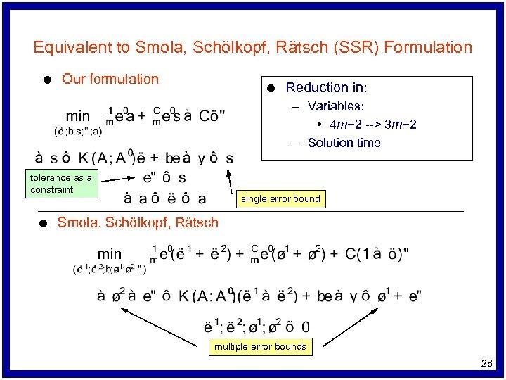 Equivalent to Smola, Schölkopf, Rätsch (SSR) Formulation l Our formulation l Reduction in: –