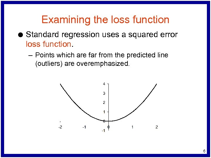 Examining the loss function l Standard regression uses a squared error loss function. –