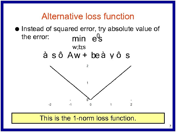 Alternative loss function l Instead of squared error, try absolute value of the error: