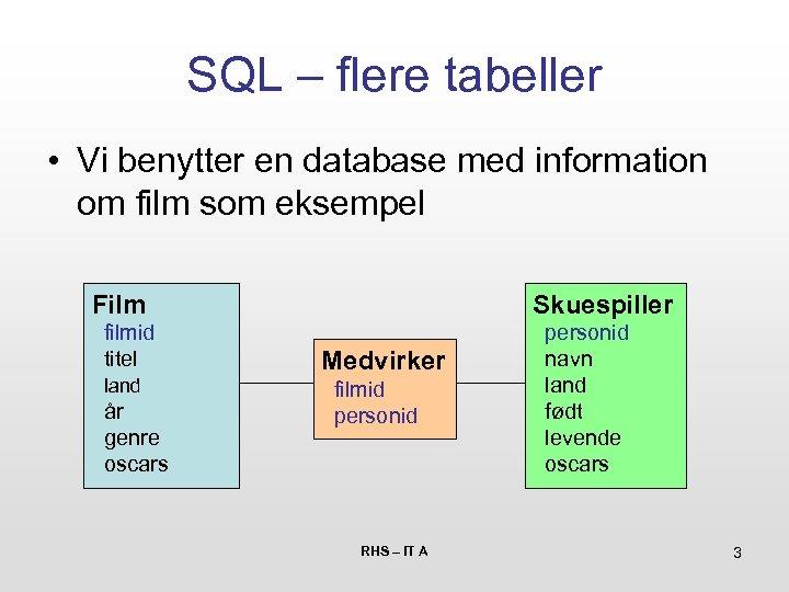 SQL – flere tabeller • Vi benytter en database med information om film som