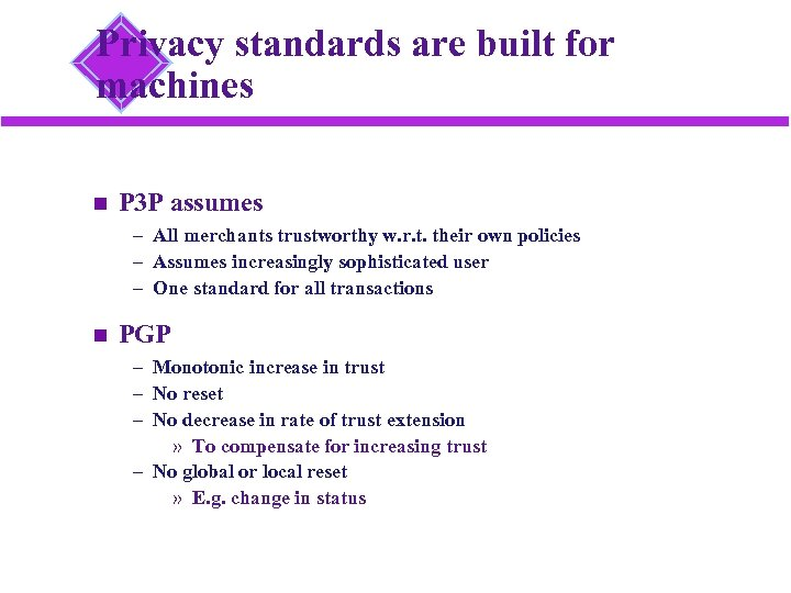 Privacy standards are built for machines P 3 P assumes – All merchants trustworthy