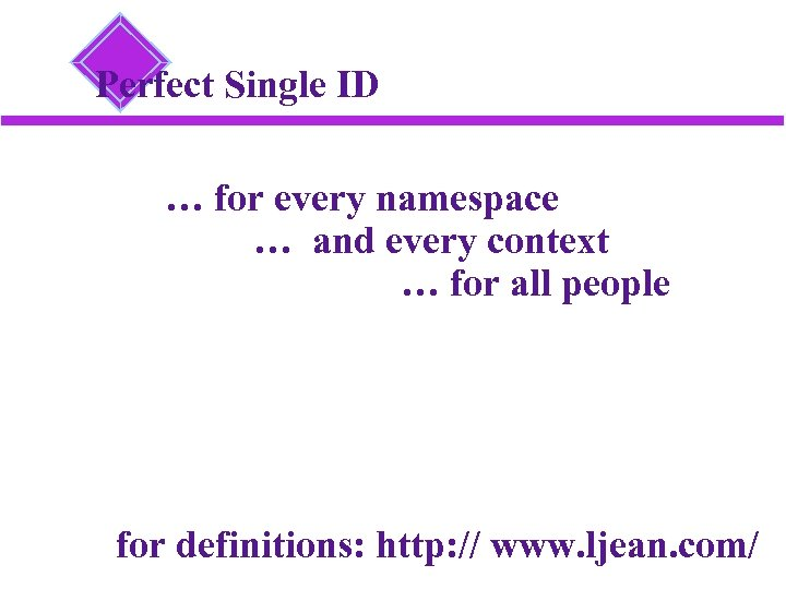 Perfect Single ID … for every namespace … and every context … for all