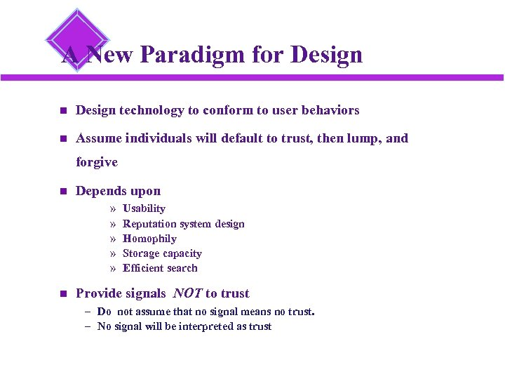A New Paradigm for Design technology to conform to user behaviors Assume individuals will