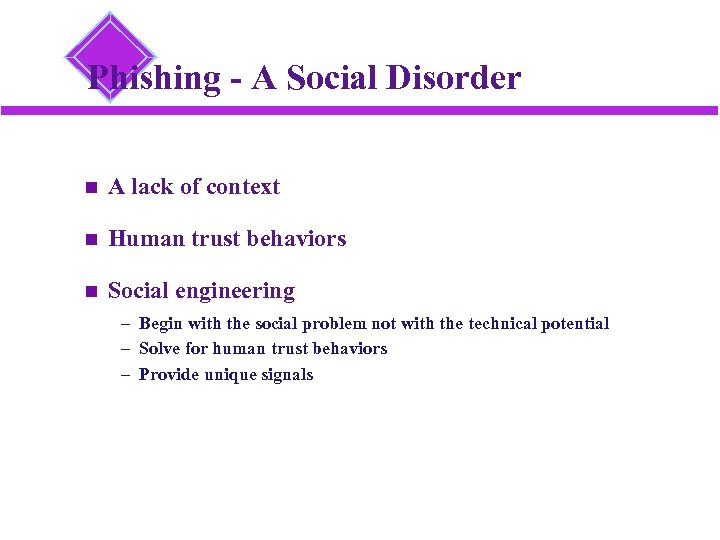 Phishing - A Social Disorder A lack of context Human trust behaviors Social engineering