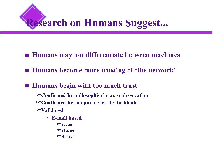 Research on Humans Suggest. . . Humans may not differentiate between machines Humans become