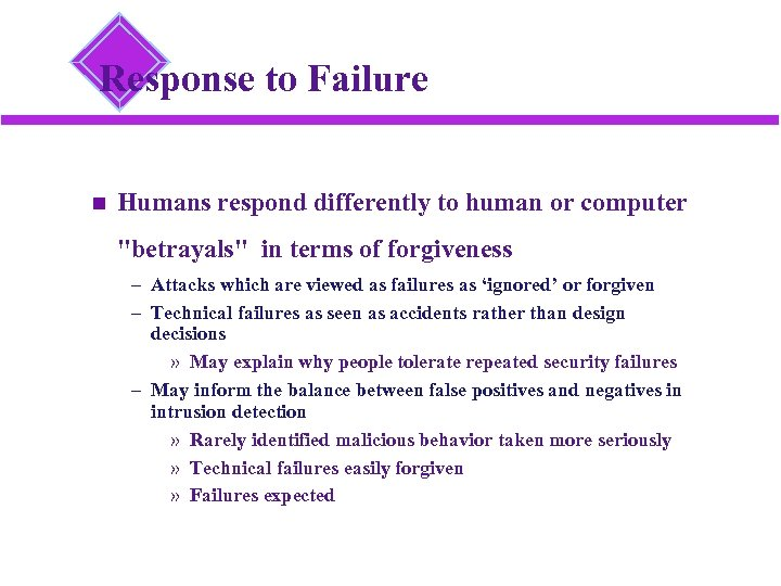 Response to Failure Humans respond differently to human or computer