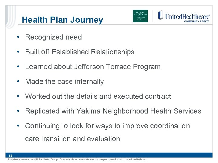 Health Plan Journey • Recognized need • Built off Established Relationships • Learned about
