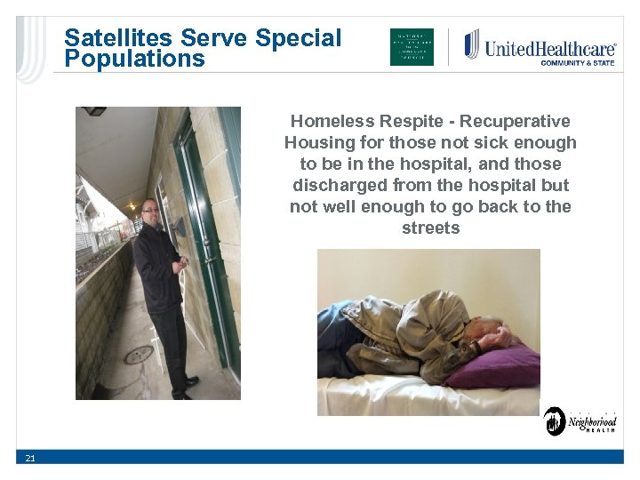 Satellites Serve Special Populations Homeless Respite - Recuperative Housing for those not sick enough