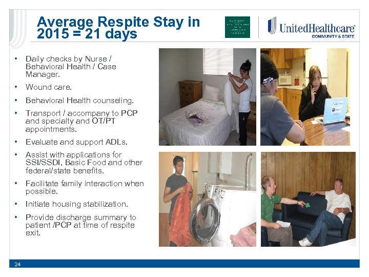 Average Respite Stay in 2015 = 21 days • Daily checks by Nurse /