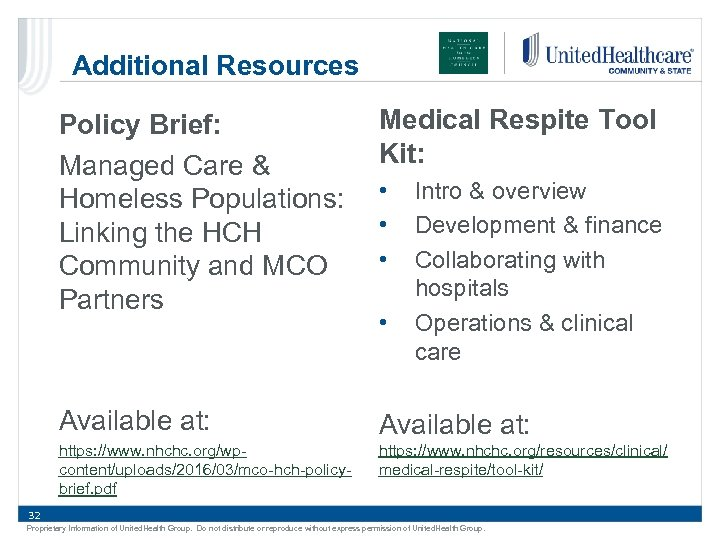Additional Resources Policy Brief: Managed Care & Homeless Populations: Linking the HCH Community and