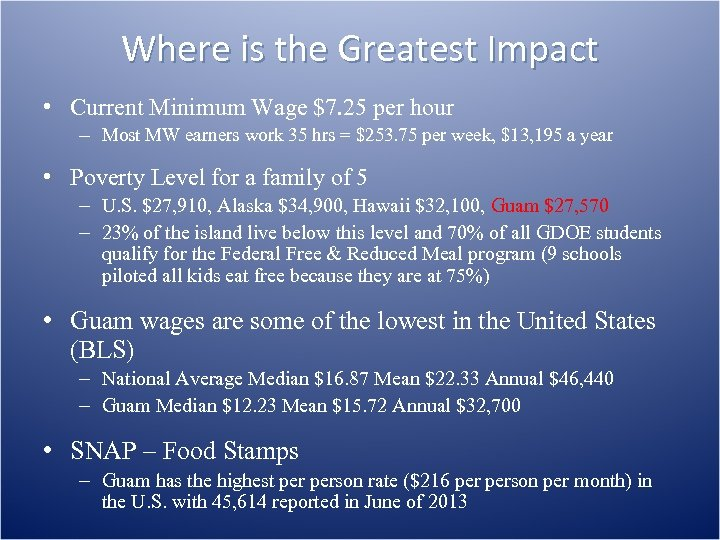 Where is the Greatest Impact • Current Minimum Wage $7. 25 per hour –