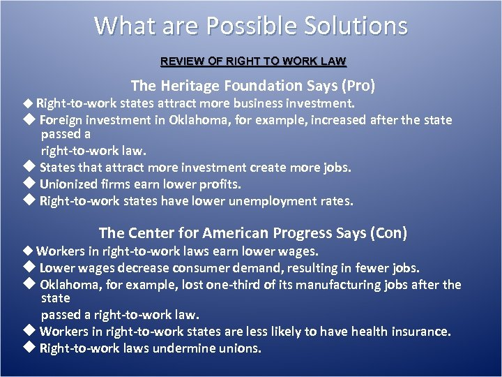 What are Possible Solutions REVIEW OF RIGHT TO WORK LAW The Heritage Foundation Says
