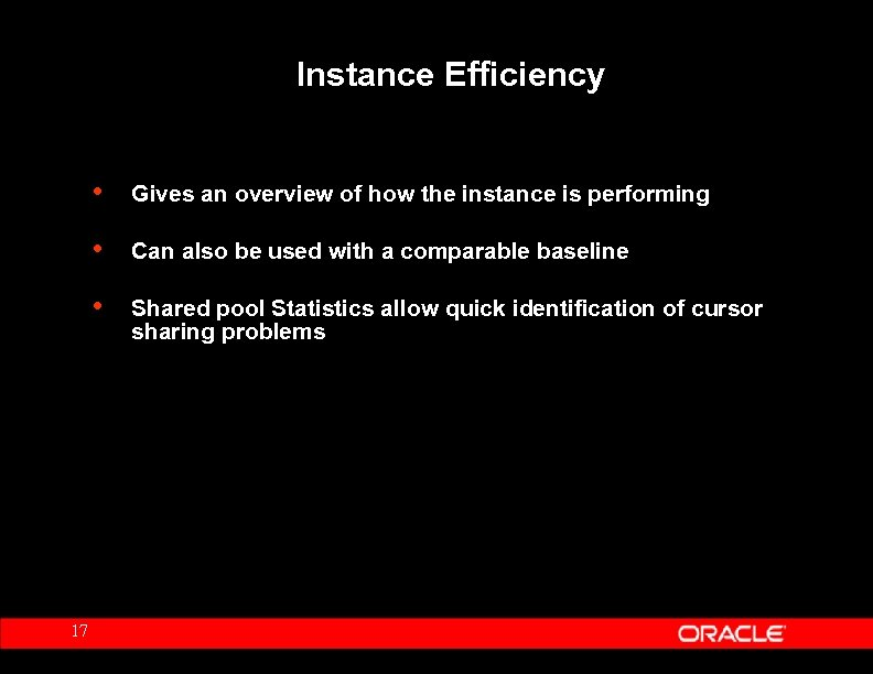 Instance Efficiency • • Can also be used with a comparable baseline • 17