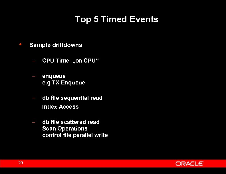 "Top 5 Timed Events • Sample drilldowns – CPU Time ""on CPU"" – enqueue"