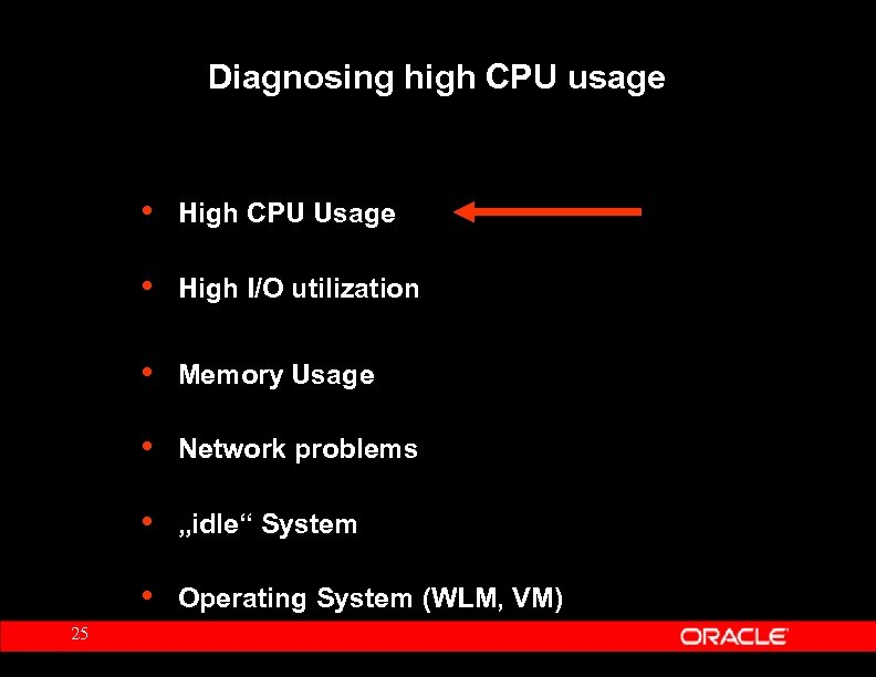 Diagnosing high CPU usage • • High I/O utilization • Memory Usage • Network
