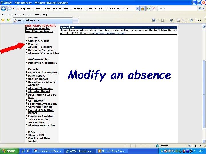 Modify an absence