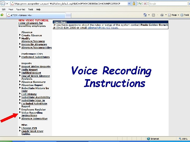 Voice Recording Instructions