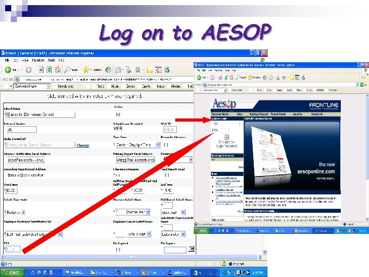 Log on to AESOP