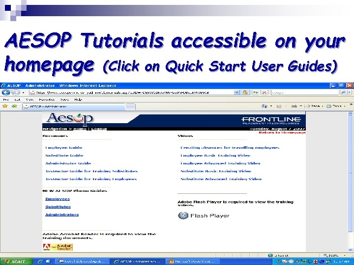 AESOP Tutorials accessible on your homepage (Click on Quick Start User Guides)