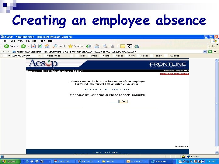 Creating an employee absence