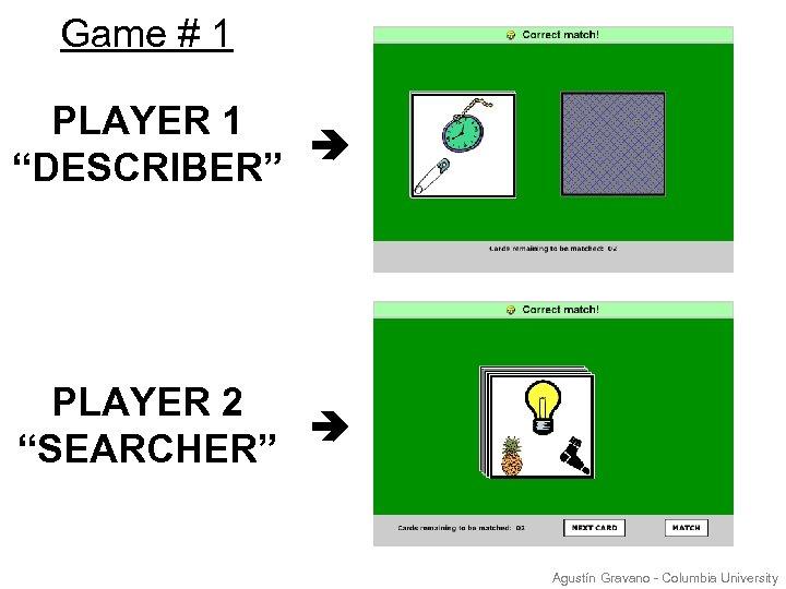 """Game # 1 PLAYER 1 """"DESCRIBER"""" PLAYER 2 """"SEARCHER"""" Agustín Gravano - Columbia University"""