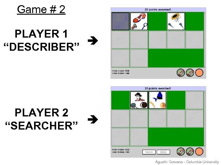 """Game # 2 PLAYER 1 """"DESCRIBER"""" PLAYER 2 """"SEARCHER"""" Agustín Gravano - Columbia University"""
