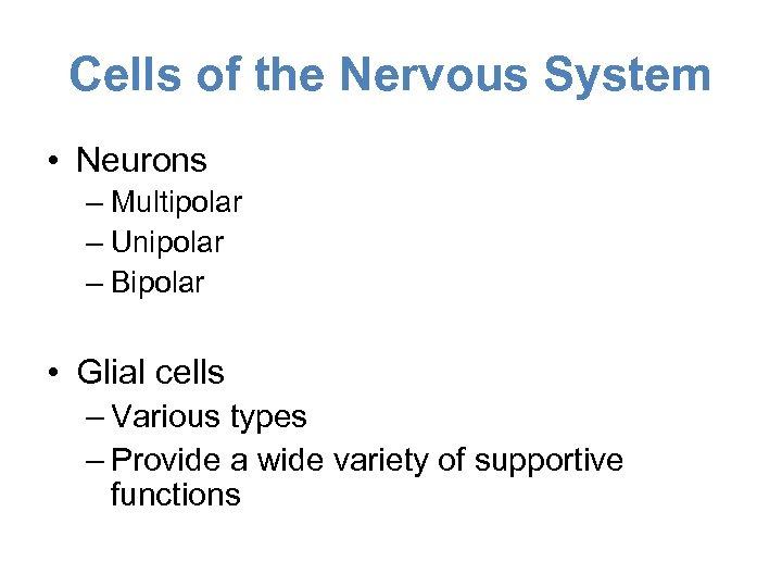 Cells of the Nervous System • Neurons – Multipolar – Unipolar – Bipolar •