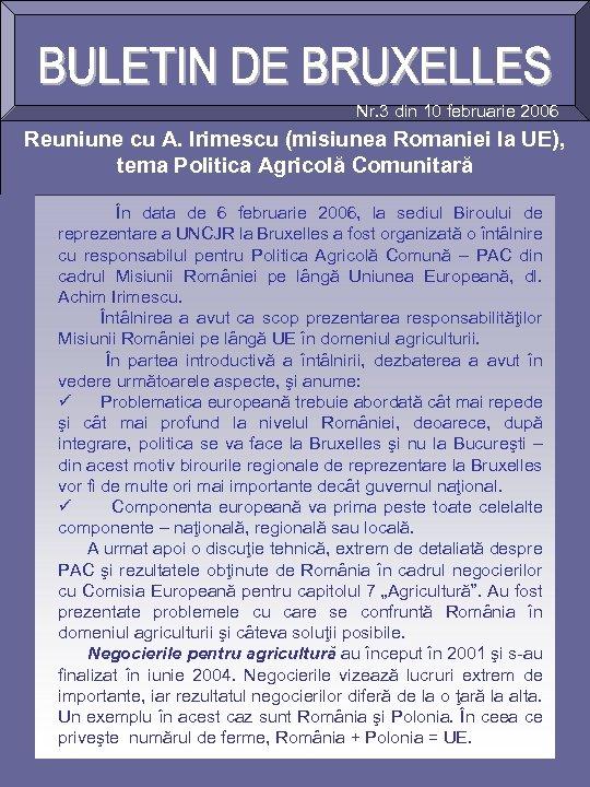 Nr. 3 din 10 februarie 2006 Reuniune cu A. Irimescu (misiunea Romaniei la UE),