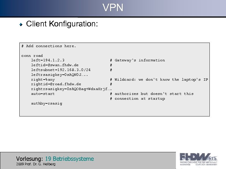 VPN Client Konfiguration: # Add connections here. conn road left=194. 1. 2. 3 #