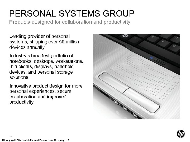 PERSONAL SYSTEMS GROUP Products designed for collaboration and productivity Leading provider of personal systems,