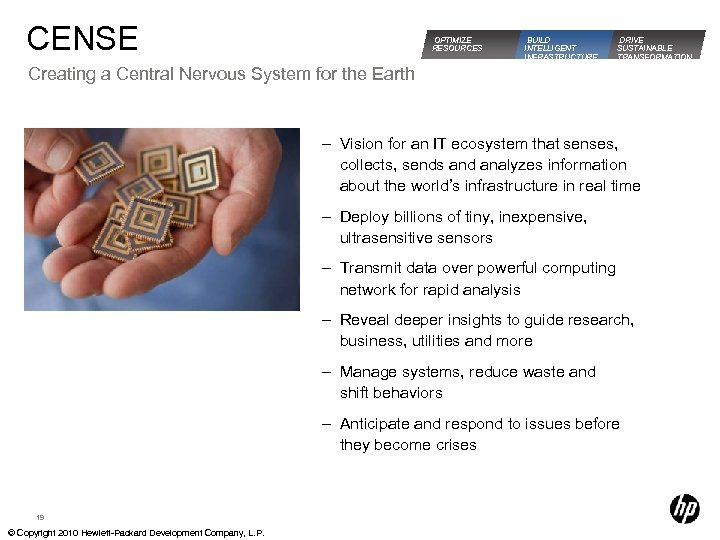 CENSE OPTIMIZE RESOURCES BUILD INTELLIGENT INFRASTRUCTURE DRIVE SUSTAINABLE TRANSFORMATION Creating a Central Nervous System