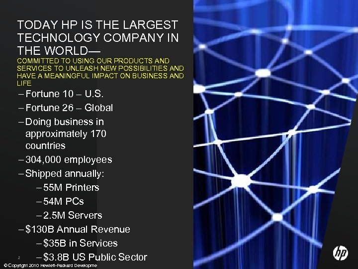 TODAY HP IS THE LARGEST TECHNOLOGY COMPANY IN THE WORLD— COMMITTED TO USING OUR