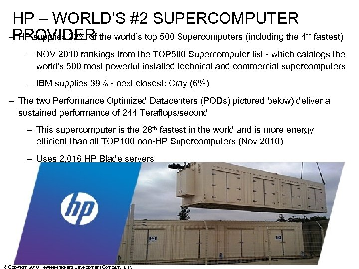 HP – WORLD'S #2 SUPERCOMPUTER – HP supplies 32% of the world's top 500