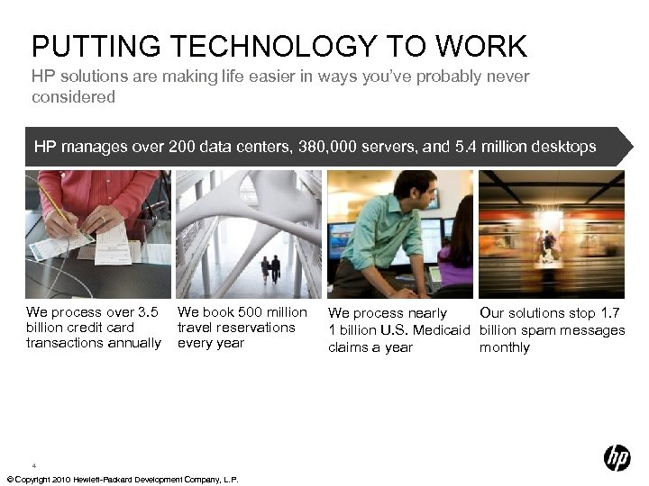PUTTING TECHNOLOGY TO WORK HP solutions are making life easier in ways you've probably