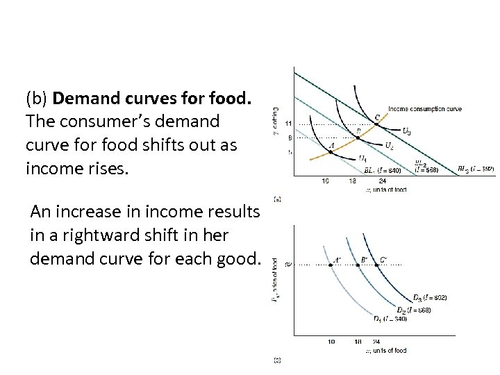 (b) Demand curves for food. The consumer's demand curve for food shifts out as