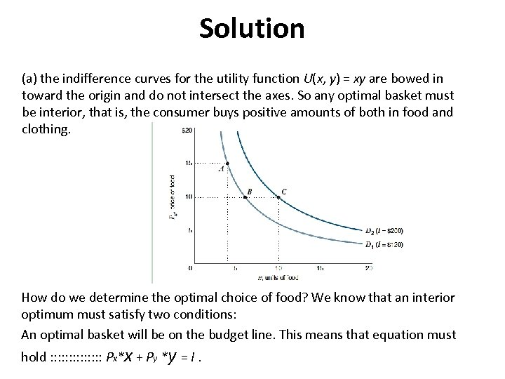 Solution (a) the indifference curves for the utility function U(x, y) = xy are