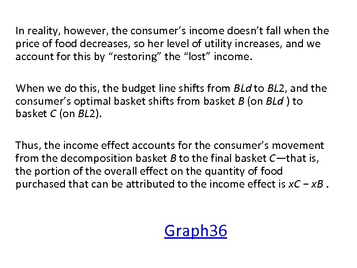 In reality, however, the consumer's income doesn't fall when the price of food decreases,