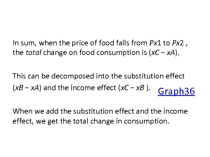 In sum, when the price of food falls from Px 1 to Px 2